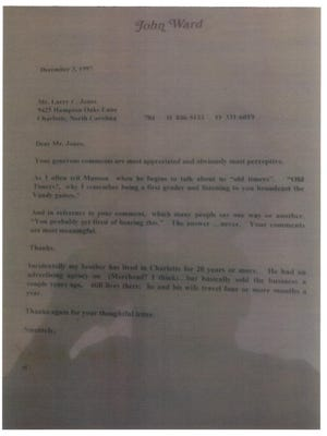 Here is the letter Tennessee radio broadcaster John Ward mailed to Vols fan Larry Jones in 1997.