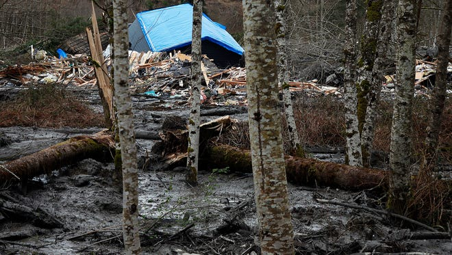 A fatal mudslide brought debris down the Stillaguamish River near Oso, Wash., on March 22, 2014, stopping the flow of the river and destroying several homes.