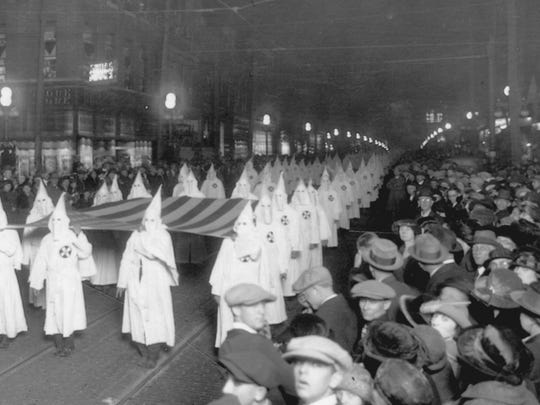 The Ku Klux Klan on parade in Anderson, Ind., October,