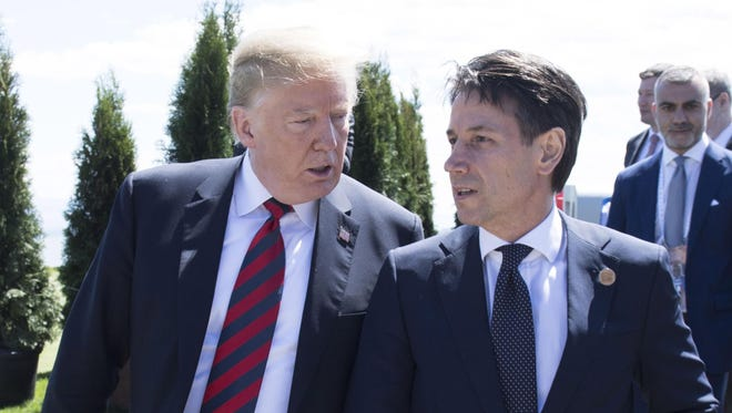 President, Donald J. Trump, chats with Italian Prime Minister Giuseppe Conte at the G7 Leaders Summit.