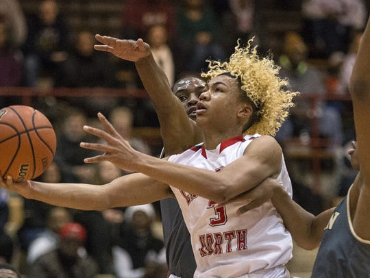 Lawrence North guard Michael Saunders (3)