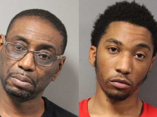 Karriem Keys (left), 53, has been charged with possession of marijuana with intent to deliver and possession of drug paraphernalia. Michael Taylor, 19, has been charged with resisting arrest, illegal gang participation, possession of a firearm by a prohibited person, receiving a stolen firearm, second-degree conspiracy, possession of a firearm during the commission of felony and possession of marijuana.