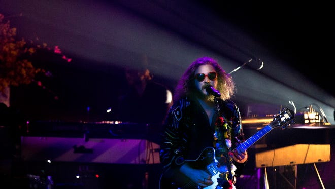 My Morning Jacket's Jim James performs at Iroquois Amphitheater Thursday night.May 12, 2016