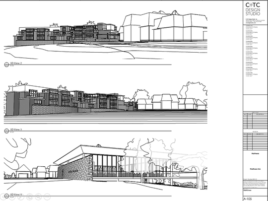 These renderings show the general layout of a proposed boutique inn and event center that the Hartness family is seeking to build around their home off State 14 on Greenville's eastside.