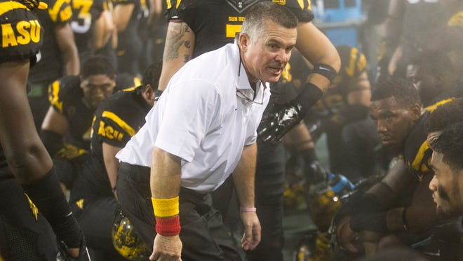 ASU head football coach Todd Graham shouts at his defense in the closing minutes of his team's 62-27 loss to UCLA on Thursday, Sept. 25, 2014, at Sun Devil Stadium in Tempe, Ariz.