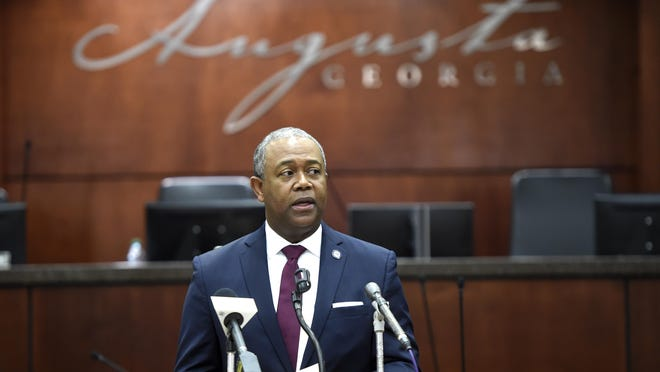 Augusta Mayor Hardie Davis speaks during a COVID-19  press conference at the Municipal Building in Augusta, Ga., Tuesday Morning April 14, 2020.