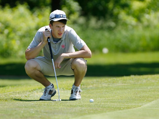 West Lafayette's Matt Krause lines up his putt at No. 9 during the boys City/County golf tournament Tuesday, May 31, 2016, at Coyote Crossing. Krause, playing at No. 1 for West Lafayette, shot an 80.