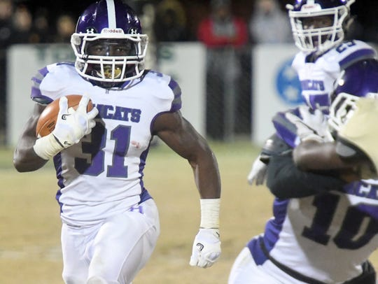 Haywood's Decourtney Reed looks for an opening to run