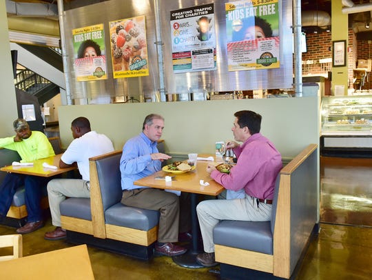 Customers have lunch at Broad Street Bakery and Cafe