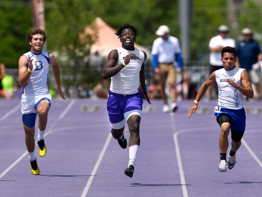 Merkel's Jonah White (center) runs the boys'100-meter dash at the Region 1-3A track and field meet at Abilene Christian University on last year. White was second in the long jump to qualify for the state meet.
