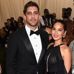 """Green Bay Packers quarterback Aaron Rodgers and actress Olivia Munn at The Metropolitan Museum of Art's Costume Institute benefit gala celebrating """"China: Through the Looking Glass"""" on Monday, May 4, 2015, in New York."""