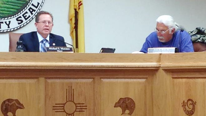 Mayor Michael Morones, left, announced on Tuesday that he does not plan on seeking re-election in 2016. Councilor Jose Ray looks on.