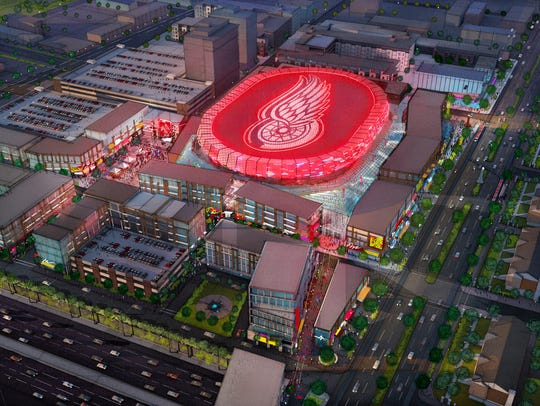 New Detroit arena concept shown from above.