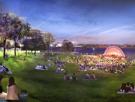 This rendering of Performance Hill is part of the West Riverfront winning design done by Michael Van Valkenburgh Associates.