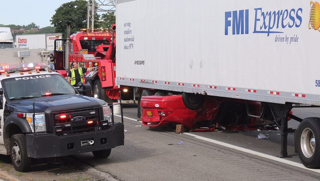 A serious crash on Friday involving a tractor-trailer and a passenger car closes the southbound Thruway in the area of Central Park Avenue.