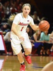Marist College's Claire Oberdorf dribbles against Princeton at McCann Arena on Dec. 29.