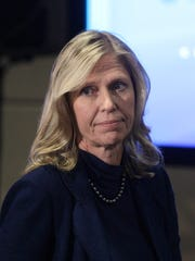 Kathryn V. Marinello, a member of the General Motors Board of Directors, is seen at the company's annual shareholder meeting in Detroit, Tuesday, June 12, 2012. (AP Photo/Carlos Osorio)