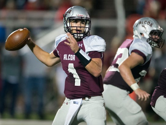 Alcoa's Walker Russell looks for an open receiver during
