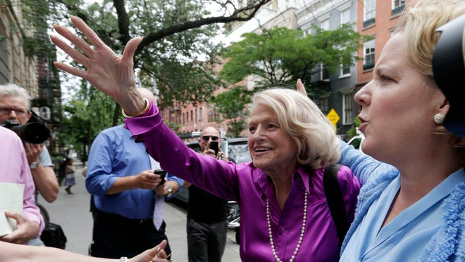 Edie Windsor arrives at the LGBT Center in New York City for a news conference on June 26, 2013.