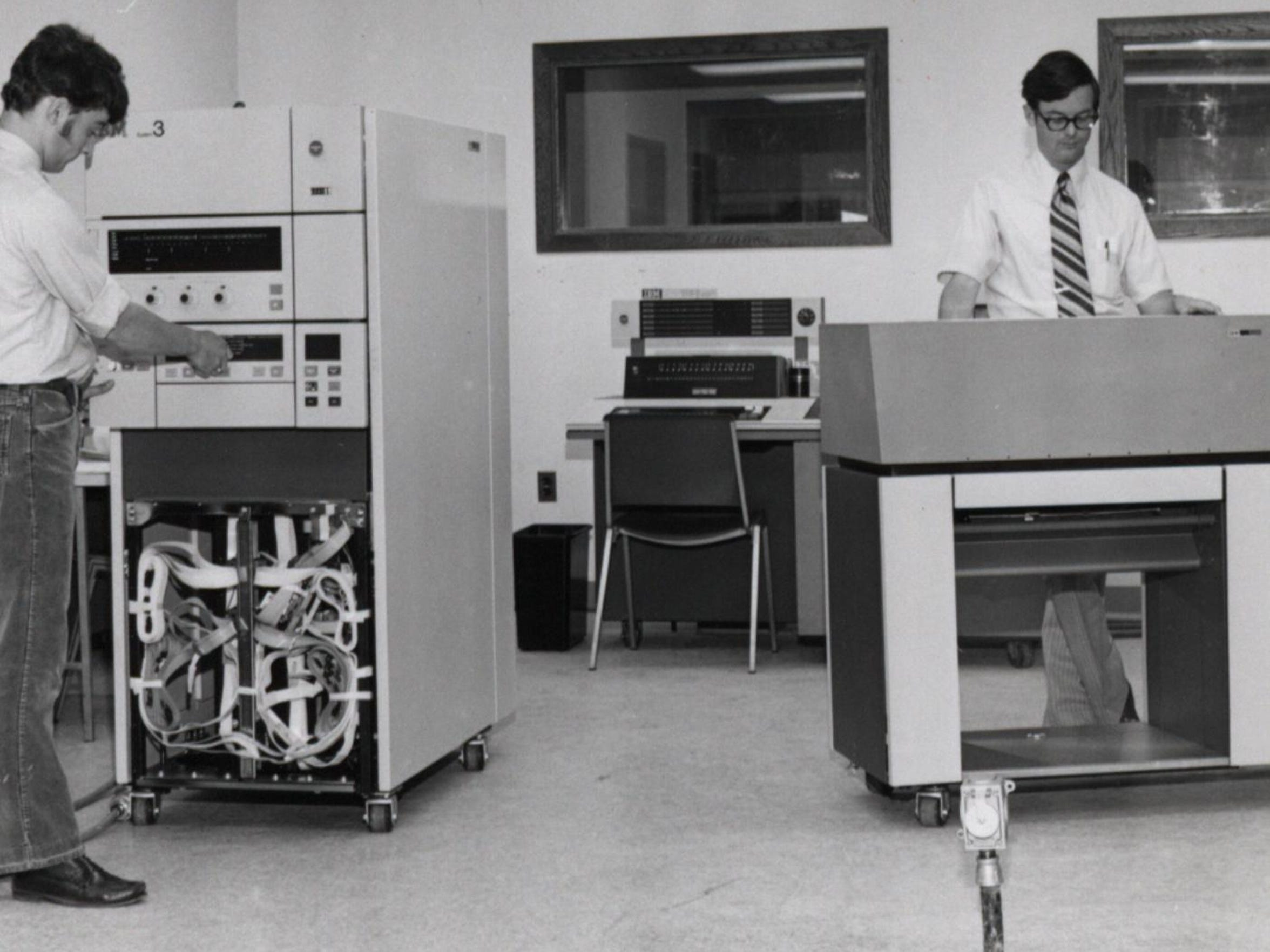 Champlain College's computer room, 1973, by Horace