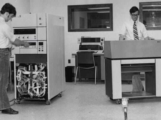 Champlain College's computer room, 1973, by Horace Eldred.