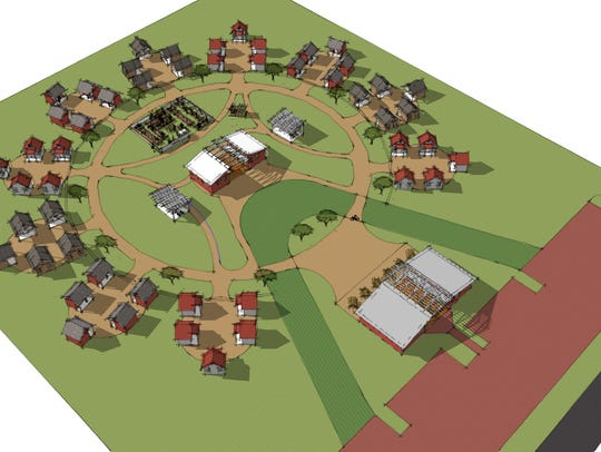 An aerial view of Joppa's proposed tiny-home village,