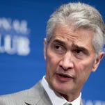 Jeff Smisek FILE - In this May 15, 2015, file photo, United Airlines Chairman, President and Chief Executive Officer Jeff Smisek, speaks during a panel discussion on unfair international competition at the National Press Club in Washington. United Airlines said Tuesday, Sept. 8, 2015, that Smisek has stepped down as CEO, chairman and president effective immediately and has named Oscar Munoz as president and chief executive officer. (AP Photo/Manuel Balce Ceneta, File)
