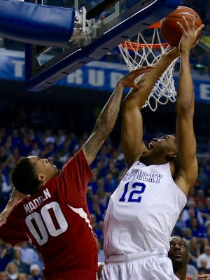 UK's Karl-Anthony Towns found himself in early foul trouble Saturday against Arkansas.