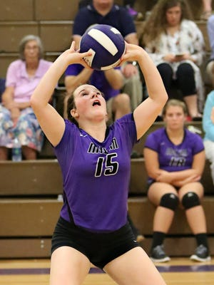 Milan's Catherine Hughes sets the ball against South Gibson.