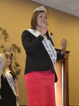 Maria Vander Heiden addresses the crowd after the 19-year-old Wrightstown High School graduate was named the 2016 Brown County Fairest of the Fair at The Marq in Lawrence on Sunday, May 1, 2016. Standing behind Vander Heiden is 2015 winner Heather Duquaine.