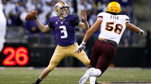 Nov 19, 2016; Seattle, WA, USA; Washington quarterback Jake Browning (3) has thrown 40 touchdown passes this season.