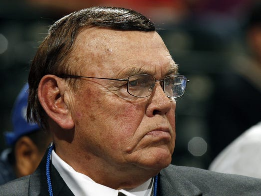 Former Purdue head coach Gene Keady watches a Big Ten