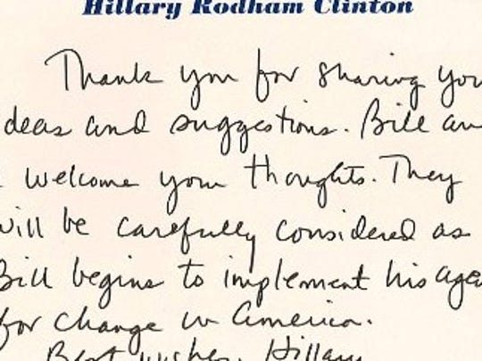 A 1992 letter that Hillary Clinton wrote to a University