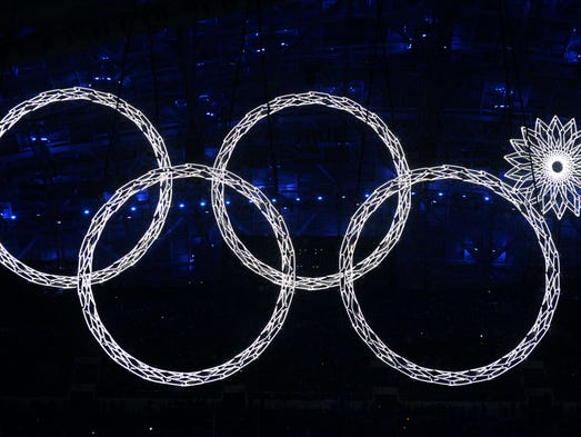 The Olympic rings are presented during the Opening Ceremony of the Sochi Winter Olympics at the Fisht Olympic Stadium on February 7, 2014 in Sochi.ANDREJ ISAKOVIC/AFP/Getty Images