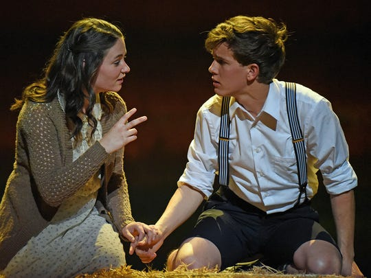 """Sandra Mae Frank with Austin McKenzie in Deaf West Theatre's """"Spring Awakening"""" that is set to open on Broadway."""
