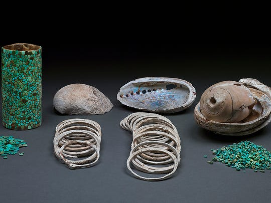 Selection of turquoise and shell artifacts found in