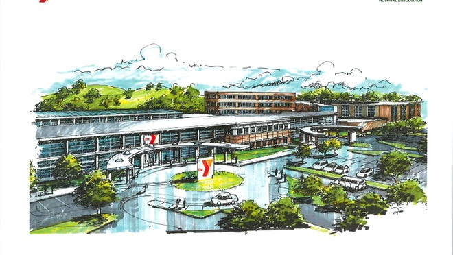 An artist's rendering of the main entrance of the planned Riverview YMCA health facility in Wisconsin Rapids.