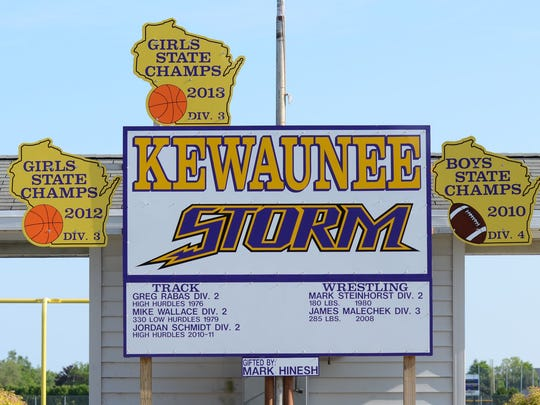 The Kewaunee School District changed its logo and mascot from Indians to Storm in 2010.