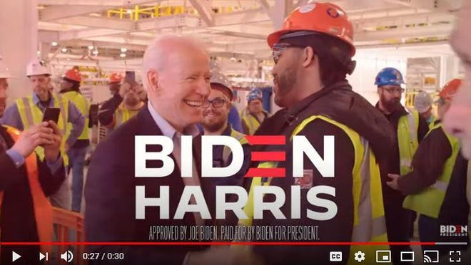 Joe Biden's campaign is airing a 30-second spot in Ohio and North Carolina based on President Donald Trump's call last week for a boycott of Goodyear Tires.