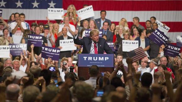 Donald Trump speaks at the Phoenix Convention Center