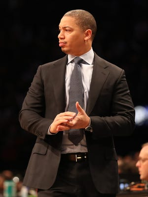 Cleveland Cavaliers head coach Tyronn Lue looks on during the third quarter against the Brooklyn Nets at Barclays Center.