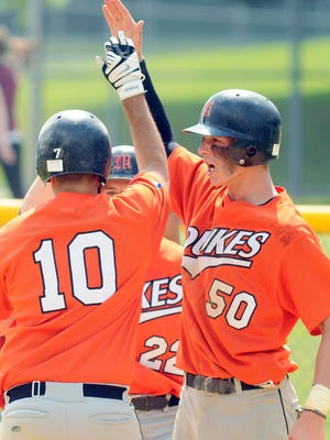 Marlboro's Tyler Curtis, right, celebrates a home run during a May 28, 2011 game against Red Hook in this file photo.