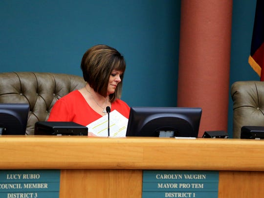 Mayor Pro-Tem Carolyn Vaughn prepares to leave the council chambers following the vote to disallow former council member Mark Scott to run for mayor in the upcoming special election on Friday, March 10, 2017 at City Hall.
