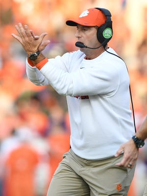 Clemson head coach Dabo Swinney coaches against Pitt during the second quarter on Saturday at Clemson's Memorial Stadium.