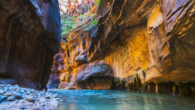 A slot canyon is pictured inside Zion National Park in this Spectrum file photo. Authorities say a man has died at Zion on Saturday after suffering a medical emergency.
