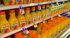 """16. Fruit juices   """"People don't realize the amount of sugar juices have,"""" said Donovan Maycock, a nutritionist at  Perfect Solutions , a nutrition and weight loss center in San Antonio. """"The body was designed to eat an orange, not to drink five oranges."""" A lot of the fruit's healthy nutrients have been lost during when an orange is processed into juice and have been replaced by sugar, he noted, so in a way you're drinking liquid candy. In addition, juices don't have the same levels fruit does of fiber, which can reduce blood pressure and inflammation and help control blood sugar levels, or phytonutrients, natural compounds that can prevent multiple diseases."""