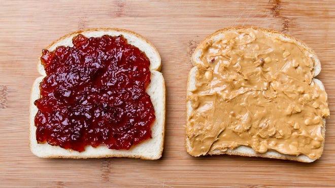 Peanut Butter Jelly Sandwich     • Size:  1 sandwich (102 g)     • Calories:  378 (Calories from fat: 159)     • Walking:  102 minutes     • Running:  36 minutes     • Biking:  52 minutes    ALSO READ: Foods and Drinks You Only Think Are Healthy