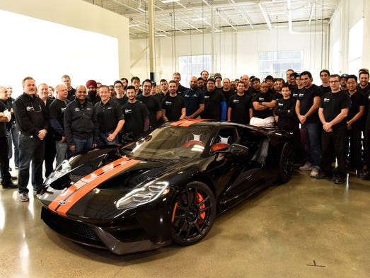 Ford's Performance team celebrates the rollout of the