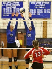 Makenzie Osgood (10) and Beth Collins (20) go up for a block for Horseheads against Owego on Sept. 7 at Horseheads Middle School.