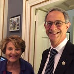 University of Rochester President Joel Seligman visits with Rep. Louise Slaughter, D-Fairport, in her office in the U.S. Capitol on Jan. 12, 2016. Seligman was Slaughter's guest for the State of the Union address.